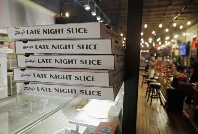 Carryout business is booming but dine-in customers are in short supply at Late Night Slice on High Street Downtown.