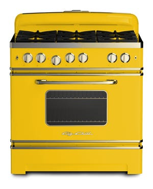 Big Chill has a bright-yellow stove with gray-steel accents.