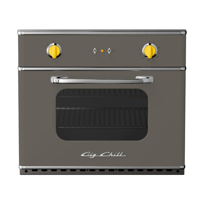 A Big Chill retro gray wall oven with yellow knobs features both 2021 colors of the year.