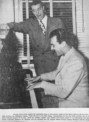 """Joe DiMaggio and Eddie Duchin team up for a rousing rendition of """"Take Me Out to the Ballgame."""" This dynamic duo visited Honesdale as guests of Bernie Kamber. All three attended the 1946 Wayne County Baseball League banquet where DiMaggio was the featured speaker."""