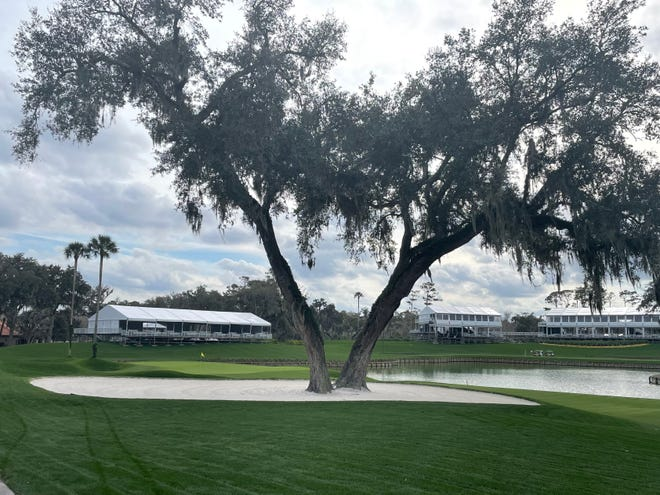 Corporate hospitality venues are nearly complete behind the 16th and 17th holes of the TPC Sawgrass Players Stadium Course with The Players Championship 45 days away.