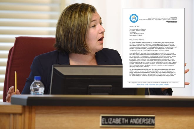 School Board Chairwoman Elizabeth Andersen sent a letter on behalf of the school board to Gov. Ron DeSantis asking for teachers to be prioritized for the COVID-19 vaccine.