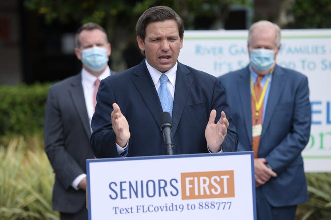 Florida Governor Ron DeSantis addresses the media at the River Garden Hebrew House for the Aged on the status of COVID-19 vaccination rates in the state's nursing homes and assisted living facilities on Monday, Jan. 25, 2021.