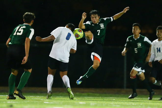 East Henderson's Jason Pereira (7) kicks the ball away during a match against Smoky Mountain last year at East.