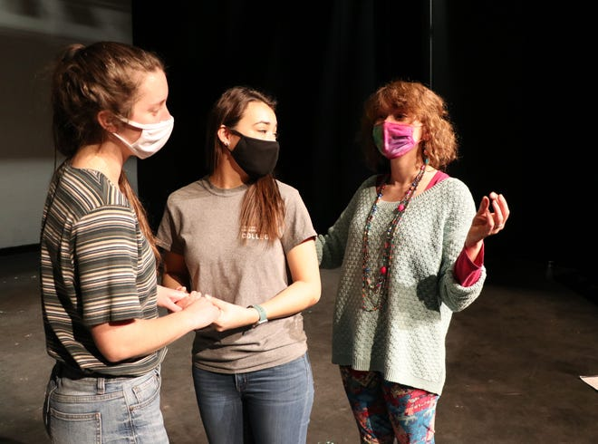 Pictured left to right, Kaitlyn Lumbert who is playing Elinor Dashwood, Maria Urwiller who is playing Elinor's sister Marianne Dashwood, and Ardynn Hershberger, director. While rehearsals are being conducted using masks the actors will not be wearing masks for the performances.