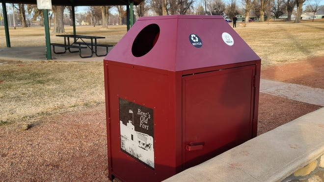 New trash and recycling bins have been installed in places on the trail that runs along the border of La Junta City Park's trail. A bin has also been placed near the north side park gazebo.