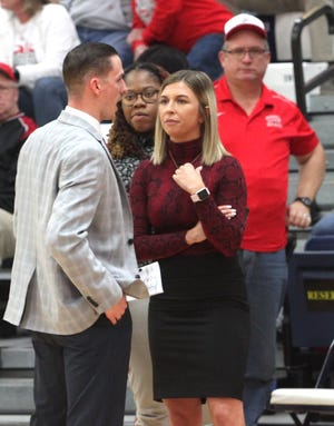 Moberly Area Community College head women's coach Hana Haden consults with her assistant coaches, Dustyn Yung and Jalisa Mitchell (center) during a time out of the 2020 NJCAA Region 16 women's tournament championship game won by the Lady Greyhounds. Standing in the background is longtime Moberly Greyhounds Booster Club member Jim Harms at the venue held last March at Lincoln University in Jefferson City.