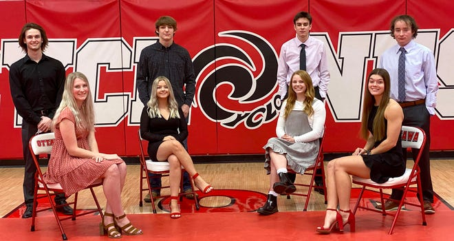 The 2021 Ottawa High School Winter Royalty Court is, front row, Emelynn Cruce, Jocelyn Hibbs, Darby Weidl, Lauren Curtis; back row, Brady Beets, Kale Lane, Tucker Baldwin and Wyatt Harris. The ceremony will take place Friday during the Ottawa-Eudora basketball games in the OHS gym.