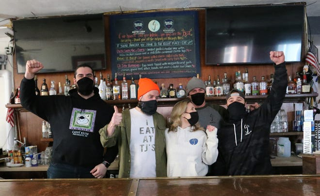 The staff of TJ's Food and Spirits were shocked and relieved to be a recipient of The Barstool Fund, which has been helping small business owners in need of help due to the impacts of COVID. From left are Ahmet Yazgan, Casey Bowlen, Bethany Hayes, Rylan Mitter-Burke and Mike Morrissey.