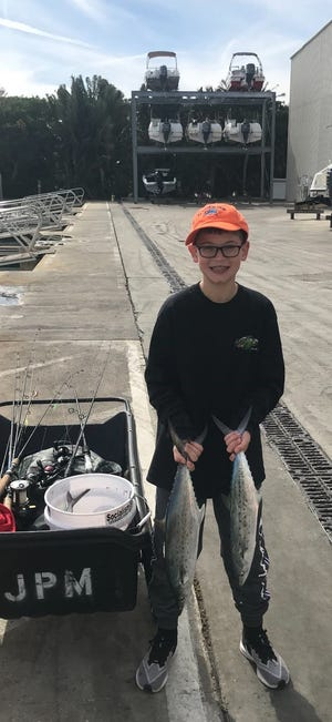 Jupiter resident Charlie Franklin, 10, caught these nice-looking Spanish mackerel using live shrimp while fishing in about 10 feet of water off of Blowing Rocks Preserve.