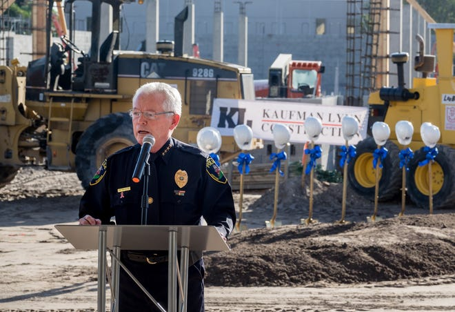 Jupiter Police Chief Daniel Kerr speaks at a groundbreaking ceremony for the new police headquarters in October 2019.