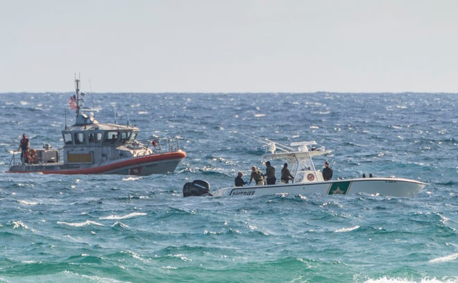 A PBSO dive team and the U.S. Coast Guard search Monday off the Boynton Inlet, where a small plane crashed into the ocean Sunday night.