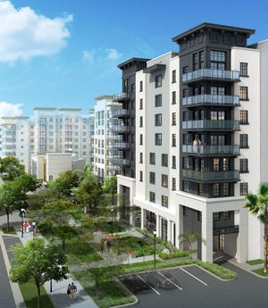 Construction is starting on The Watermark at West Palm Beach, a luxury residence for seniors amid downtown's activity. [Artist's rendering]
