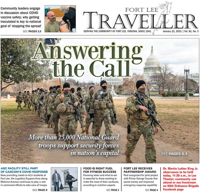 The front page of the Fort Lee Traveller from Jan. 21, 2021, is shown in this photo. After eight decades in existence, the post newspaper will stop production on Thursday.
