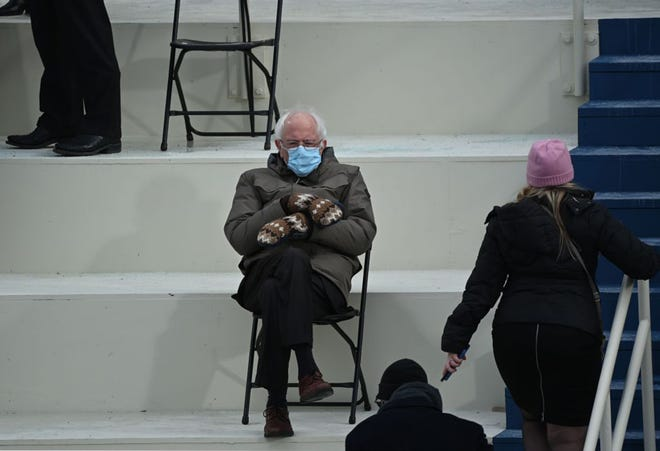 Sen. Bernie Sanders sits in the bleachers on Capitol Hill before Joe Biden is sworn in as the 46th U.S. president on Jan. 20. There have been endless memes made from this cozy image in nearly every situation imaginable.
