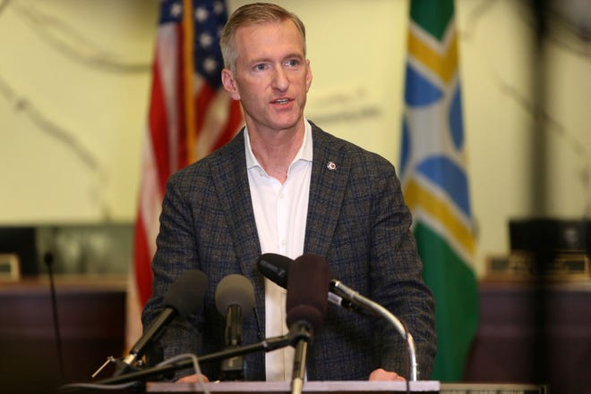 """Portland Mayor Ted Wheeler speaks during a news conference Aug. 30. On Monday, Jan. 25, Wheeler said the ongoing criminal destruction and violence occurring in his city - which has been the epicenter of protests against racial injustice for eight months - is """"unacceptable."""""""