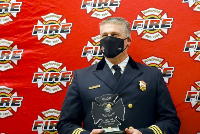 Rockford Fire Chief Derek Bergsten receives the Illinois Fire Chiefs Association 2020 Fire Chief of the Year award Monday, Jan. 25, 2021, at the Rockford Fire Department headquarters.