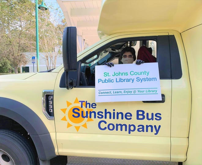 Starting in January, anyone can ride the Sunshine Bus free of charge on the first Wednesday of each month by showing a St. Johns County Library card as their bus pass.