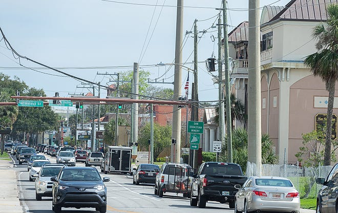 Vehicles travel on King Street in St. Augustine on Friday, March 1, 2019.