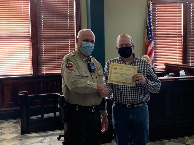 The Erath County Commissioners met in regular session on Monday and took time to recognize employees for their years of service. Deputy Ronnie Rush was recognized for 10 years of service to the Erath County Sheriff's Office.