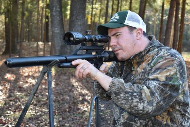 Drew Clayton taking aim with his Texan big bore air rifle.