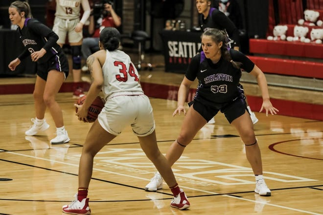 Tarleton's Marissa Escamilla (No. 33) had a stellar afternoon in the Texans' 59-47 loss to Seattle U on Saturday at the Redhawk Center. The 5-9 junior posted game-highs in points (16) and rebounds (10) to record the fifth double-double of her career and second of the 2020-21 season.