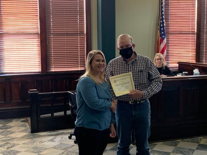 The Erath County Commissioners met in regular session on Monday and took time to recognize employees for their years of service. Jodi Sharp was recognized for five years of service to the county.