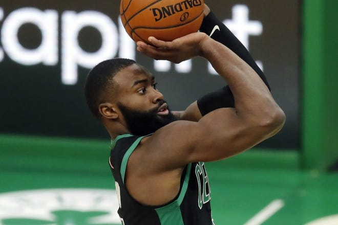 The Celtics' Jaylen Brown shoots during the second half Sunday night against the Cavaliers at TD Garden.