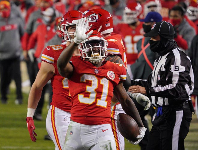 Chiefs running back Darrel Williams reacts against the Bills during the fourth quarter of the AFC Championship Game at Arrowhead Stadium.