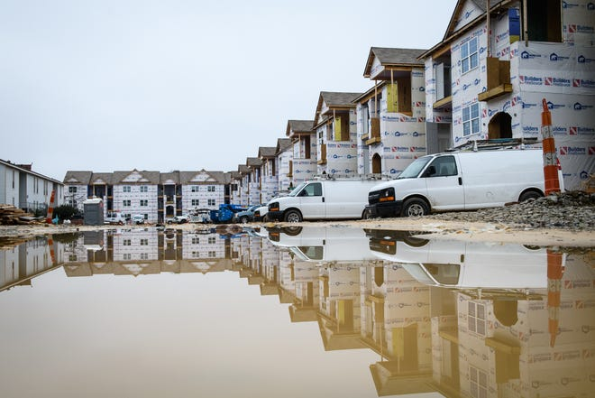 An apartment complex is under construction on Turtle Point Drive in Fayetteville on  Jan. 25. Fayetteville's apartment rent is about 10.1% more than it was last year.