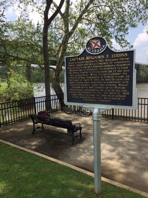 The historic marker honoring Capt. Benjamin F. Eddins is located on the River Walk. Eddins and a young boy tried to prevent Croxton's Raiders from entering Tuscaloosa during the Civil War.