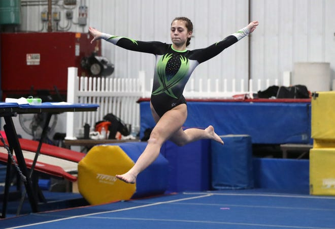 Westland's Chloe Sanchez competes in a meet Jan. 22 at Central Ohio Gymnastics and Cheerleading in Delaware. Coach Brittany Maynard said Sanchez has been one of the top performers for the Cougars, who are getting ready for the OCC-Central and district meets.