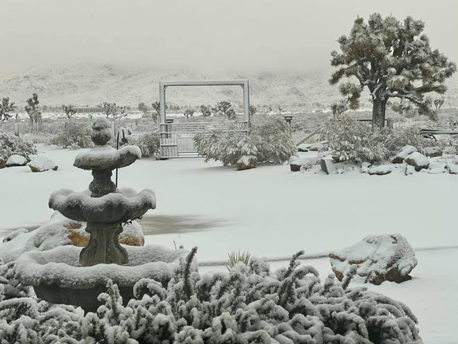Some residents awoke Monday morning to a winter wonderland after a snow storm dropped a few inches of the powder in the Victor Valley. More snow is expected this week.