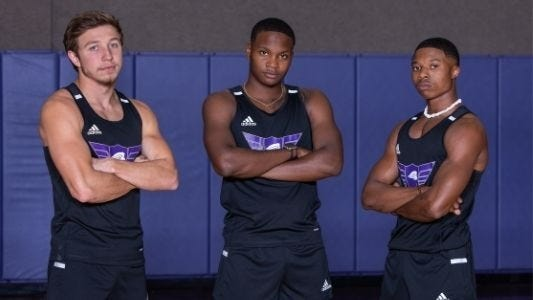 Members of Southwestern Assemblies of God University's track team pose for a preseason photo. The Lions competed this past weekend in the 2021 Friends University NAIA Mid-Season Invite in Wichita, Kan. and came away with some top finishes.