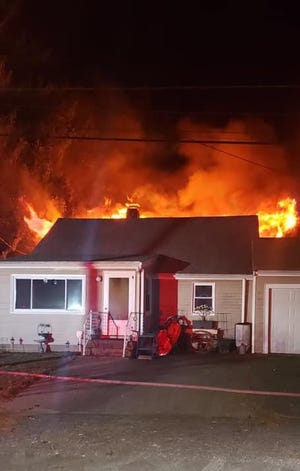 Fire ravages a home on Wright Court in Kingston Saturday night.