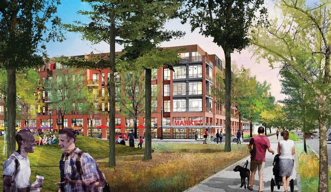 Shown here is a sketch of what the Royal Crest Apartments complex will look like after a planned renovation of the site to include restaurants, retail and office space.