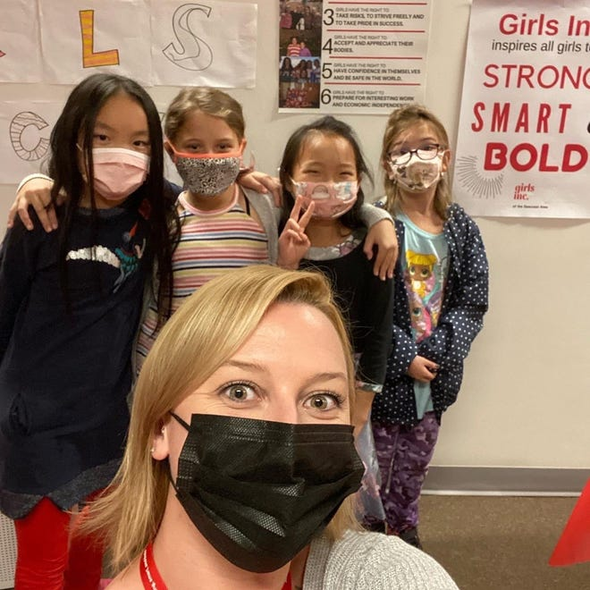 The Jeanne Geiger Crisis Center will host the Girls Inc. Virtual Dance-a-thon in February. Shown here, in the foreground is Danielle Littles, Girls Inc. of the Seacoast Area program manager; Background, left to right, are Grace Geerlings, Breslin Cook, Mia Geerlings and Scarlett Costa, all participants of the Fall STEAM program, which focuses on science, technology, engineering, arts and math.