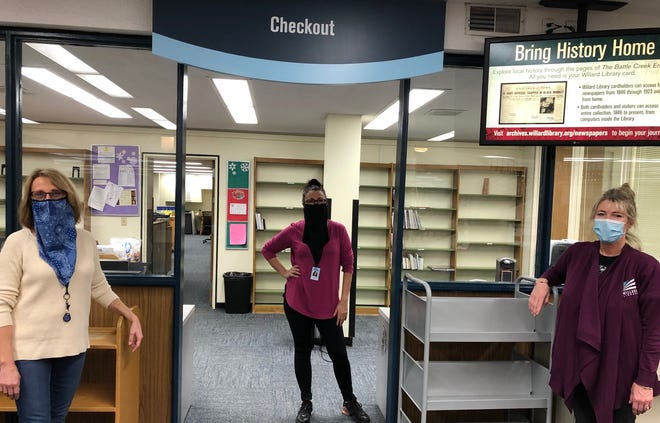 Willard Library Circulation Department staff members are ready to welcome guests back to the downtown library. Beginning, Monday, Jan. 25, the library will be open to guests for one hour per day Monday through Friday from noon to 6 p.m. Library express services include browsing materials, computer use, printing, scanning  and faxing.