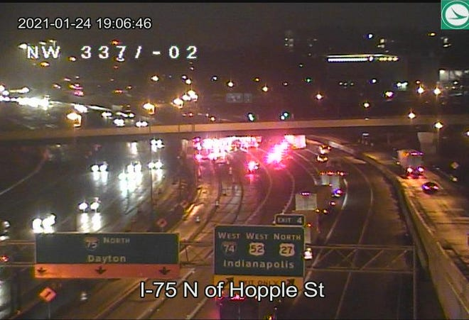 Interstate 75 North is closed past Hopple Street after a crash.