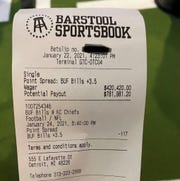 A receipt for the $420,420 wager