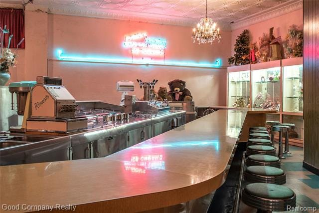Alinosi Ice Cream & Candy, at 12748 E. Mcnichols Ave. in Detroit, is up for sale and includes an original soda fountain.