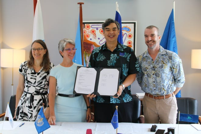 From left to right: Jo Pilgrim, director of United Nations World Food Programme's Pacific multi-country office; Corinne Capuano, director of Pacific technical support with the World Health Organization; Sujiro Seam, European Union ambassador to the Fiji and Pacific; and Andrew Jones, Pacific Community's director of geoscience, energy and maritime.