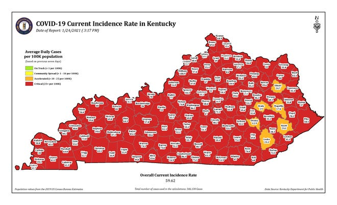 The COVID-19 current incidence rate map for Kentucky as of Sunday, Jan. 24.