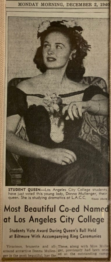 The image of Donna Reed in the Los Angeles City College beauty show, which appeared in the Dec. 2, 1940, edition of the L.A. Times.