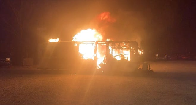 Someone broke into the Pearson Recovery compound at 1400 Canal Road early Sunday and set fire to a travel trailer.