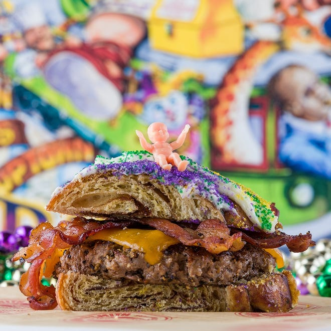 Should king cake be the buns to a burger? Decide for yourself starting Feb. 1 at all six Burgersmith locations