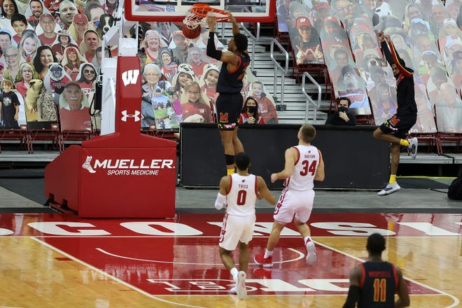 Aaron Wiggins and his Maryland teammates beat Wisconsin in front of a crowd of cutouts Dec. 28 at the Kohl Center. But the Terrapins are 0-3 at home heading into the teams' rematch Wednesday.