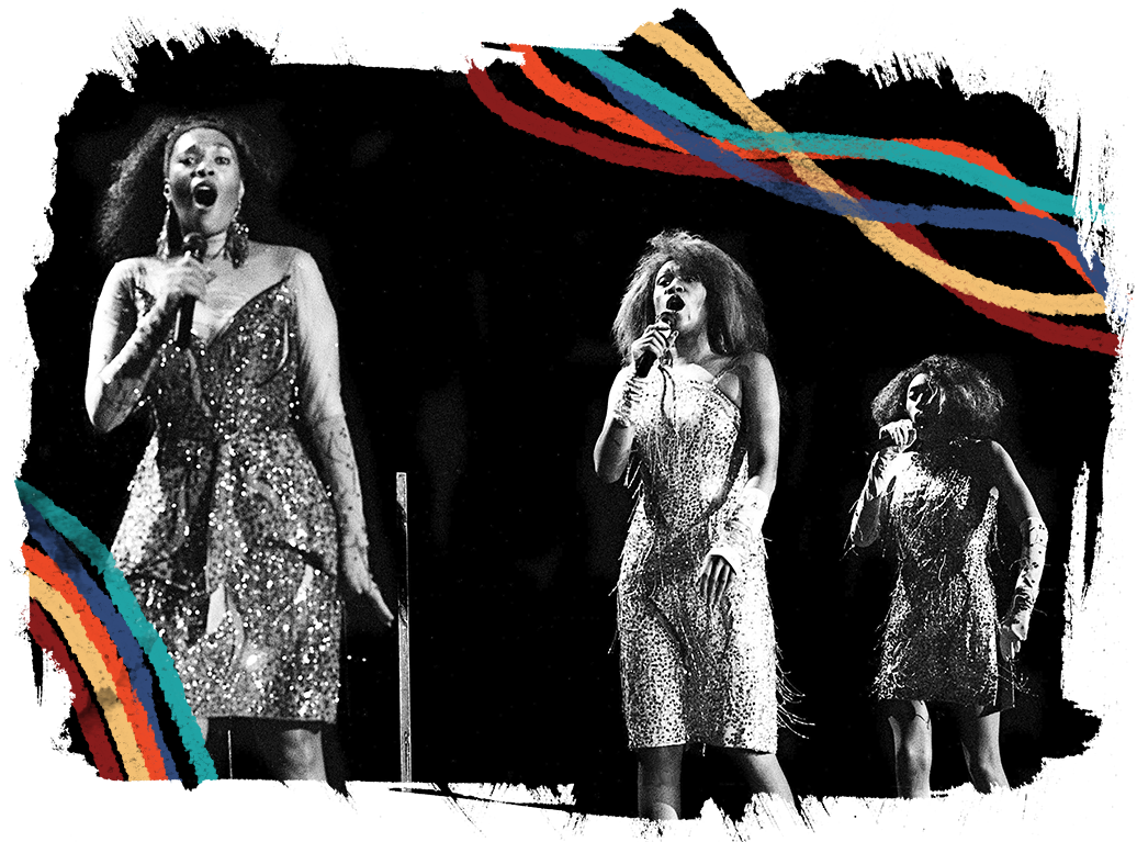 """The Pointer Sisters — Anita, left, Ruth and June — step into the synchronized dance steps of """"Automatic"""" as entertain their fans at the Starwood Amphitheatre on June 24, 1986."""