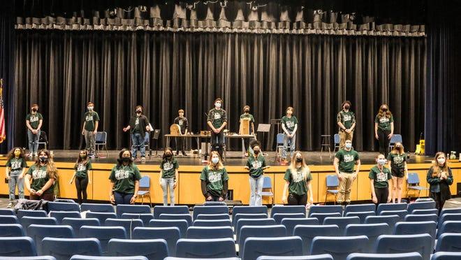 "The cast of Farmington High School's radio production of ""It's A Wonderful Life."""