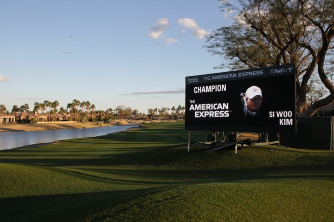 An electronic sign displays Si Woo Kim as the tournament champion at the American Express at PGA West in La Quinta, Calif. on Sunday, January 24, 2021.